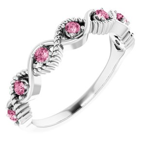 14K White Pink Tourmaline Stackable Ring