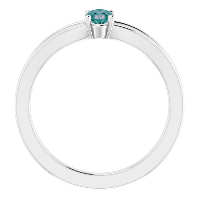 Sterling Silver Alexandrite Solitaire Youth Ring