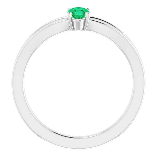 Sterling Silver Imitation Emerald Solitaire Youth Ring