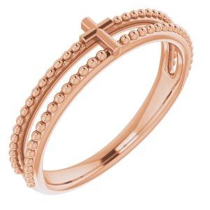 14K Rose Milgrain Stackable Cross Ring