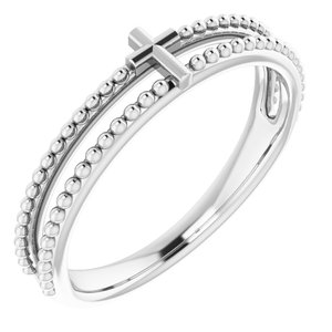 Sterling Silver Milgrain Stackable Cross Ring