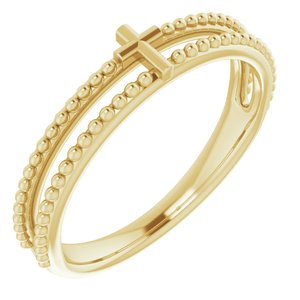 14K Yellow Milgrain Stackable Cross Ring