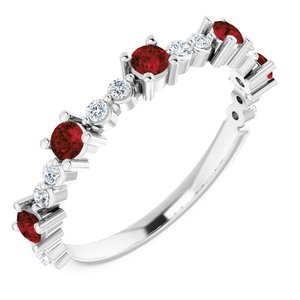 14K White Mozambique Garnet & 1/5 CTW Diamond Ring