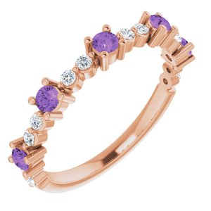 14K Rose Amethyst & 1/5 CTW Diamond Ring