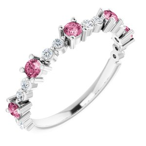 14K White Pink Tourmaline & 1/5 CTW Diamond Ring