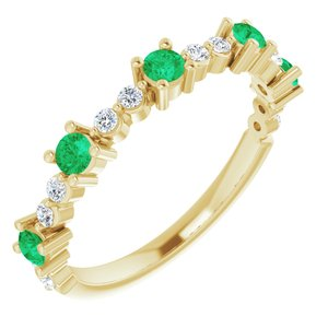 14K Yellow Emerald & 1/5 CTW Diamond Ring