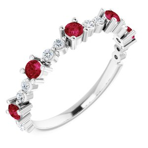 Sterling Silver Ruby & 1/5 CTW Diamond Ring