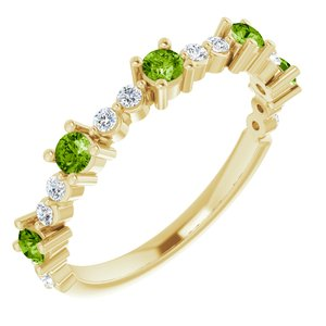14K Yellow Peridot & 1/5 CTW Diamond Ring