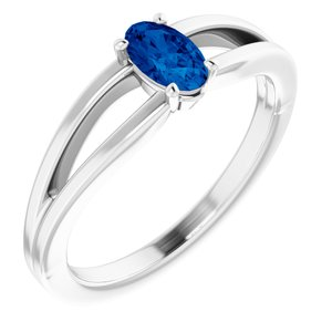 14K White Chatham® Created Blue Sapphire Solitaire Youth Ring