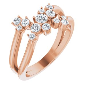 14K Rose 1/2 CTW Diamond Cluster Bypass Ring