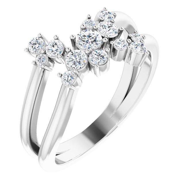 14K White 1/2 CTW Diamond Cluster Bypass Ring