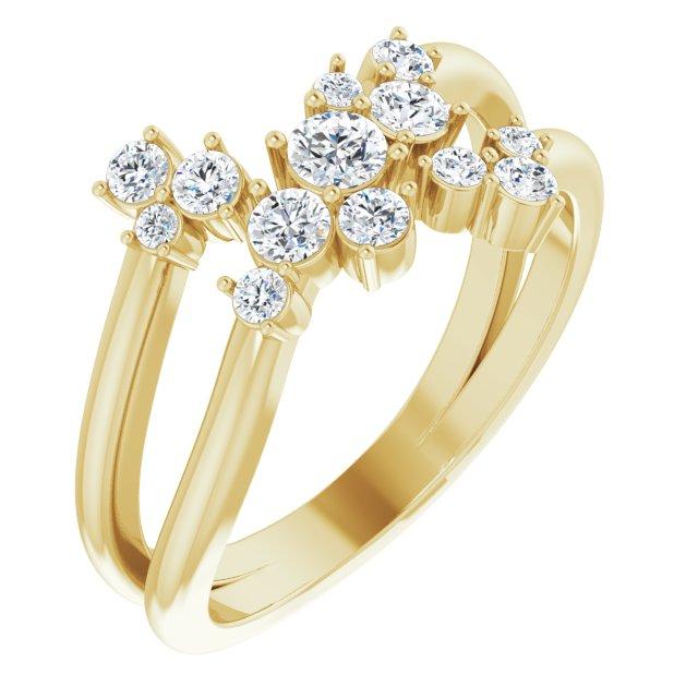 14K Yellow 1/2 CTW Diamond Cluster Bypass Ring