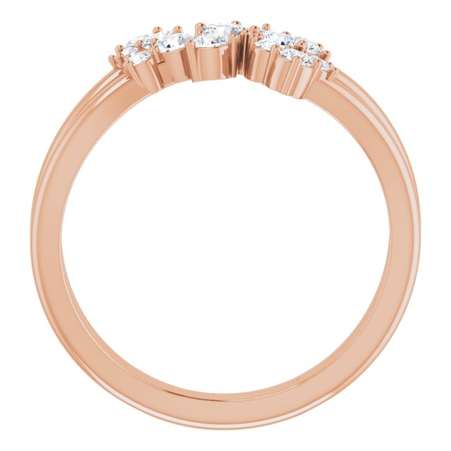14K Rose 1/2 CTW Diamond Cluster Bypass Ring