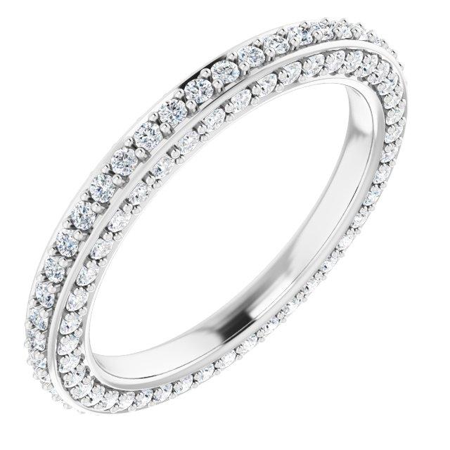 14K White 5/8 CTW Diamond Eternity Band Size 4