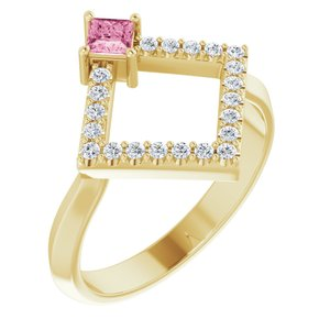 14K Yellow Pink Tourmaline & 1/5 CTW Diamond Geometric Ring