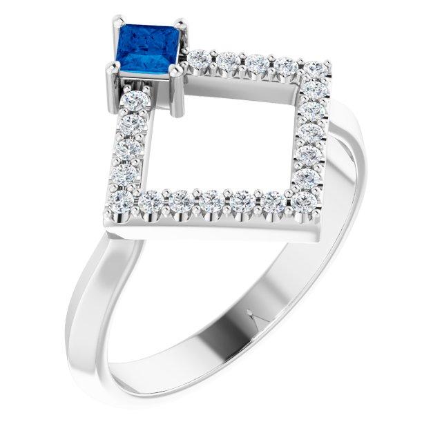 14K White Blue Sapphire & 1/5 CTW Diamond Geometric Ring