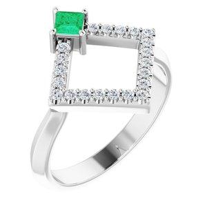 14K White Chatham® Created Emerald & 1/5 CTW Diamond Geometric Ring