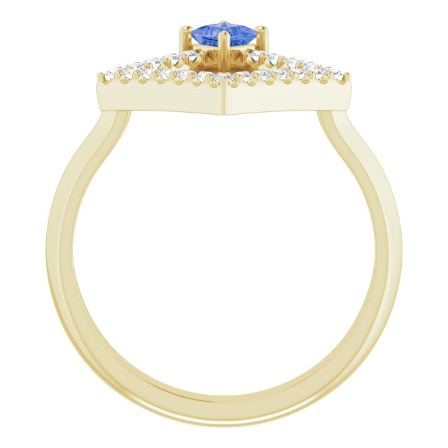 14K Yellow Tanzanite & 1/5 CTW Diamond Geometric Ring