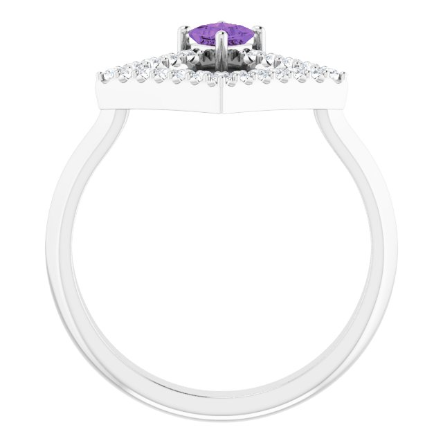 14K White Amethyst & 1/5 CTW Diamond Geometric Ring