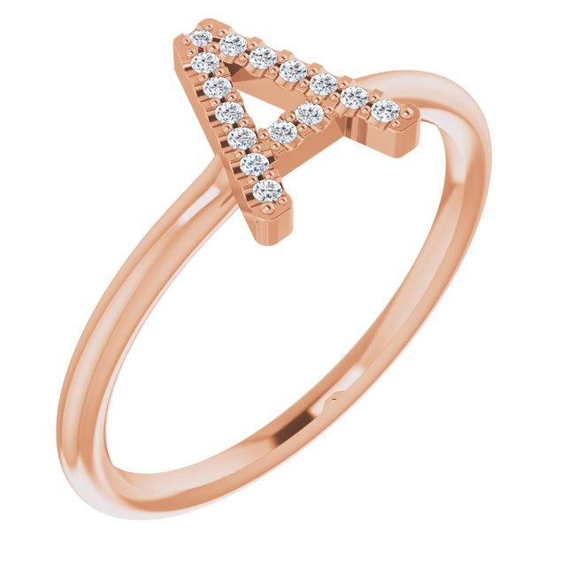14K Rose .07 CTW Diamond Initial A Ring
