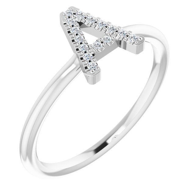 Sterling Silver .07 CTW Diamond Initial A Ring