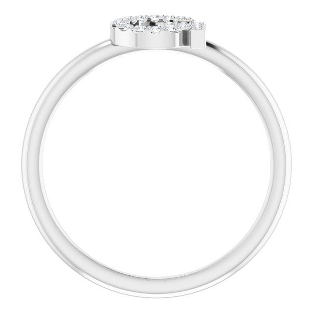 14K White .08 CTW Diamond Initial G Ring