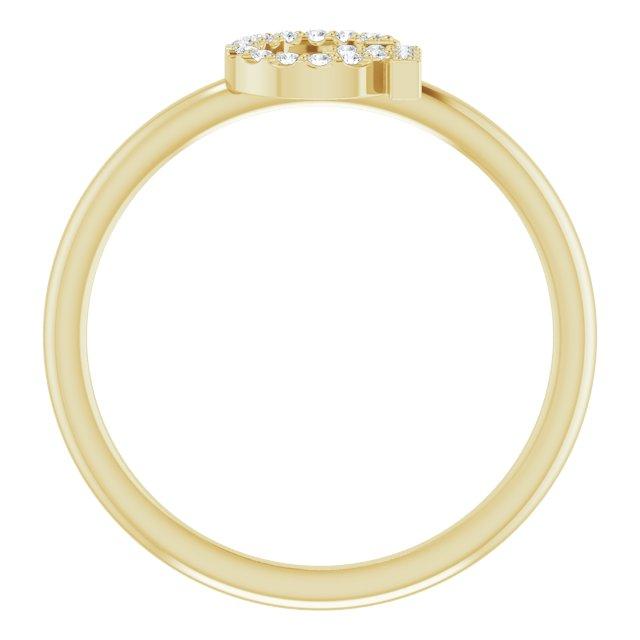 14K Yellow .08 CTW Diamond Initial G Ring