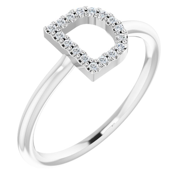 14K White .06 CTW Diamond Initial D Ring