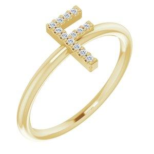 14K Yellow .06 CTW Diamond Initial F Ring