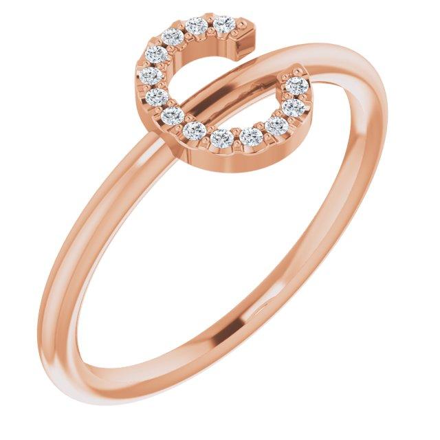 14K Rose .05 CTW Diamond Initial C Ring
