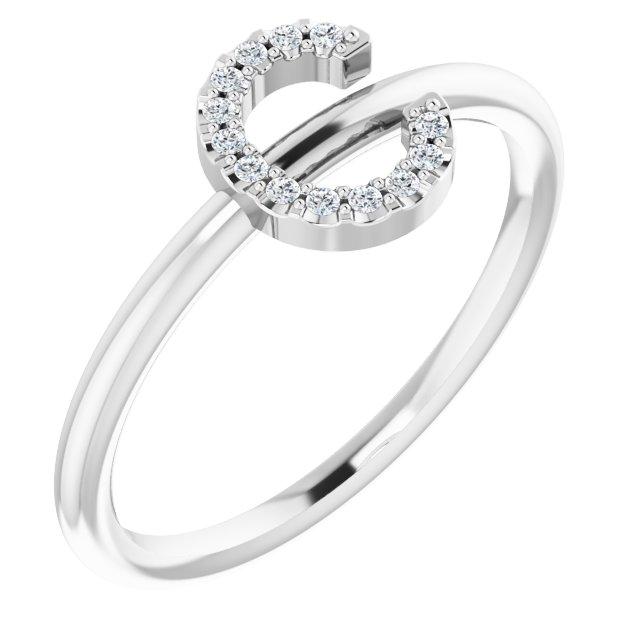 14K White .05 CTW Diamond Initial C Ring