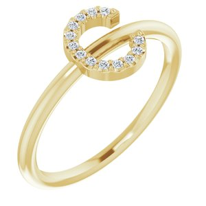 14K Yellow .05 CTW Diamond Initial C Ring