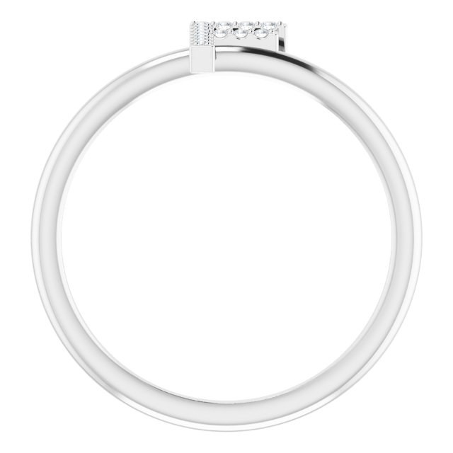14K White .06 CTW Diamond Initial F Ring