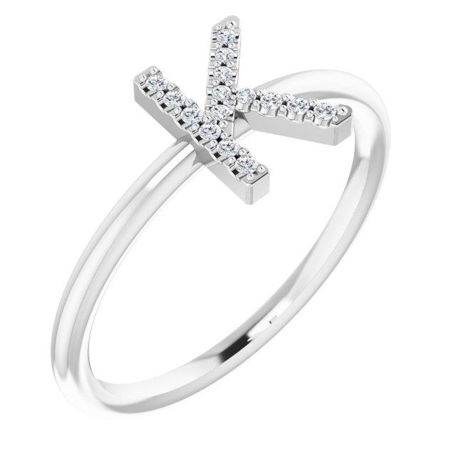 14K White .05 CTW Diamond Initial K Ring