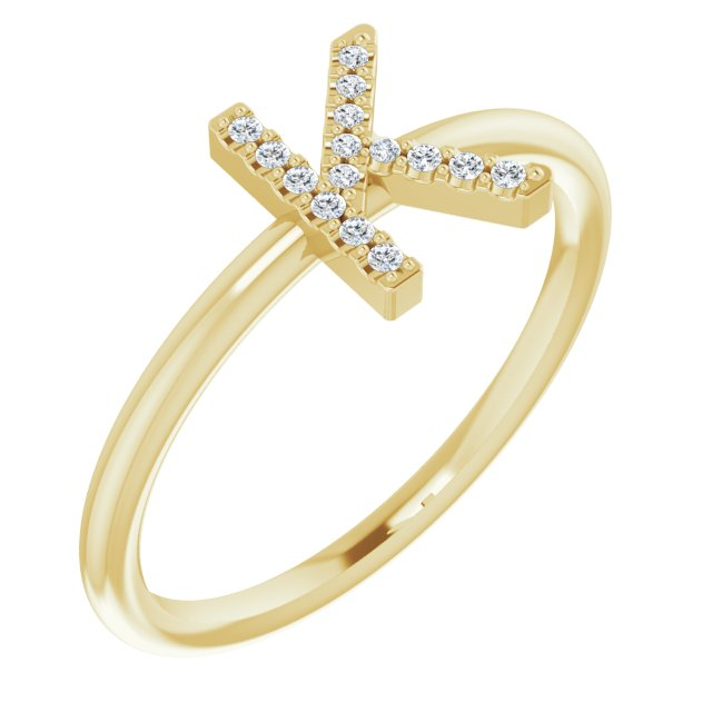 14K Yellow .06 CTW Diamond Initial K Ring