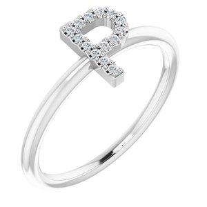 14K White .07 CTW Diamond Initial P Ring