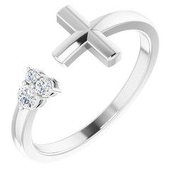 Accented Negative Space Cross Ring