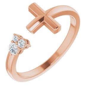 14K Rose 1/10 CTW Diamond Negative Space Cross Ring