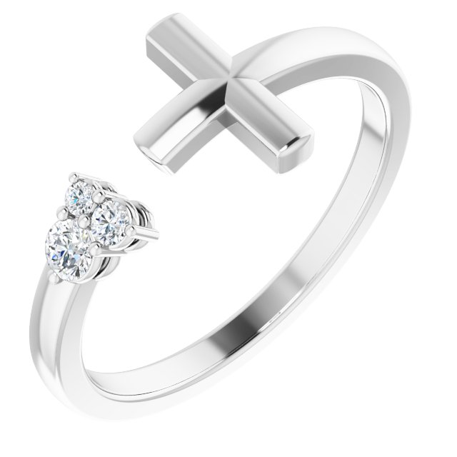 Sterling Silver 1/10 CTW Diamond Negative Space Cross Ring