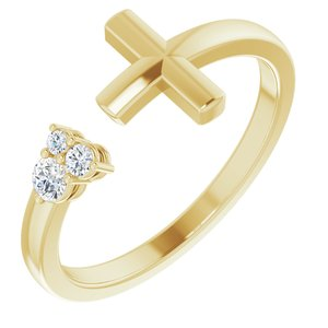 14K Yellow 1/10 CTW Diamond Negative Space Cross Ring