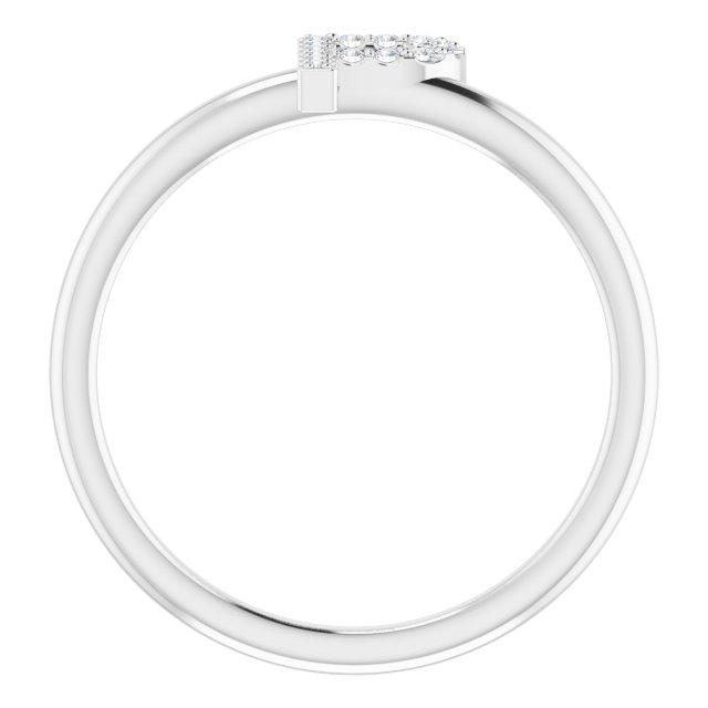 14K White .05 CTW Diamond Initial P Ring