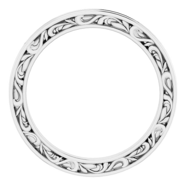 14K White 2 mm Sculptural-Inspired Leaf Band   Size 5.5