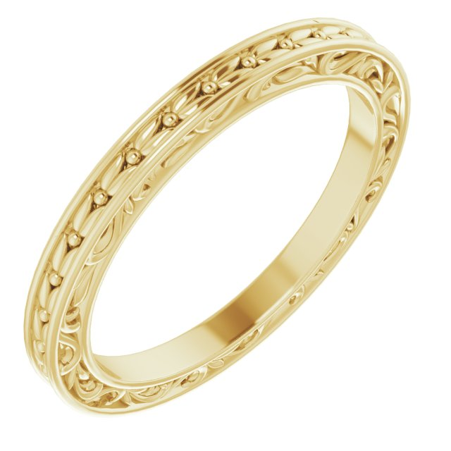 14K Yellow 2 mm Sculptural-Inspired Leaf Band   Size 6