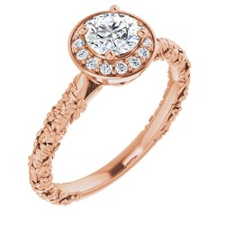 Floral-Inspired Halo-Style Engagement or Band