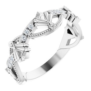 14K White 1/8 CTW Diamond Vintage-Inspired Anniversary Band
