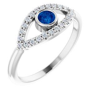 14K White Chatham® Created Blue Sapphire & White Sapphire Evil Eye Ring