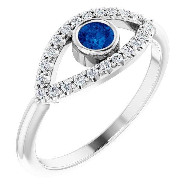 14K White Blue Sapphire & White Sapphire Evil Eye Ring