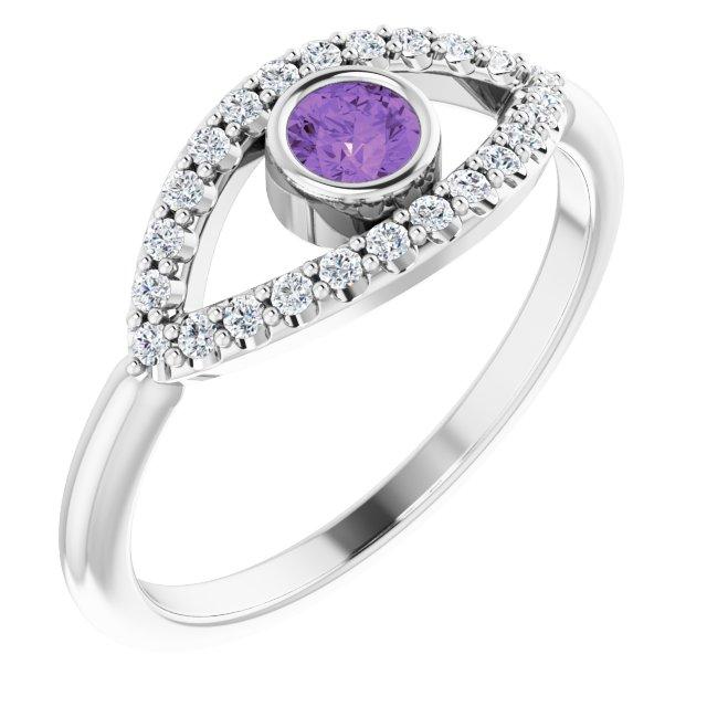 14K White Amethyst & White Sapphire Evil Eye Ring