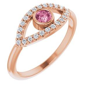 14K Rose Pink Tourmaline & White Sapphire Evil Eye Ring