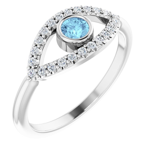 14K White Aquamarine & White Sapphire Evil Eye Ring